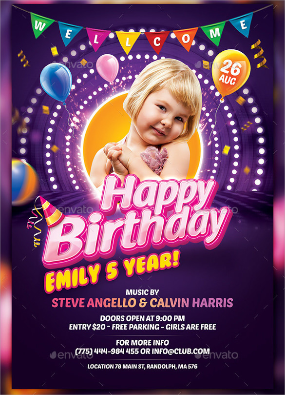 Birthday Party Flyer Vector ~ Image Inspiration Of Cake And
