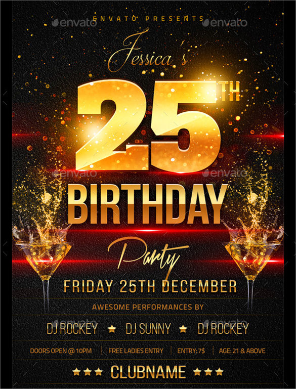 Spectacular Birthday Flyer Template   Download Documents In