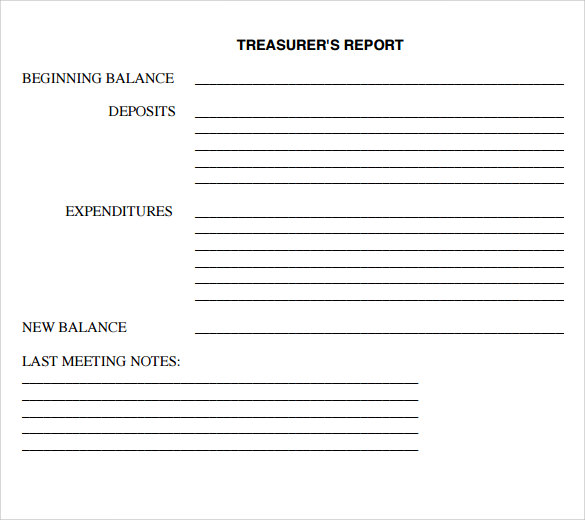 treasurer report template free