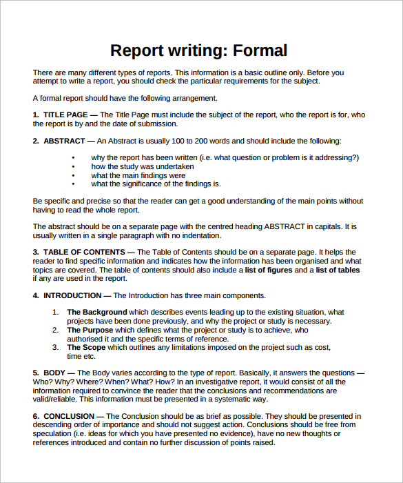 Sample Formal Report   Documents In Pdf