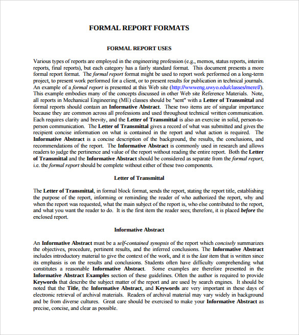 Formal Report Format Sample