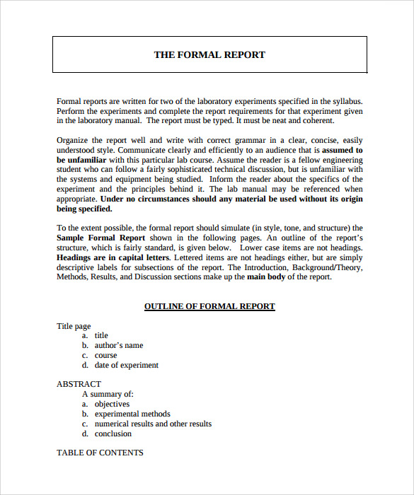 Example Of Formal Report Template