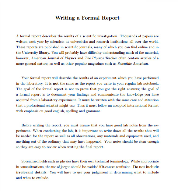 Formal report format template