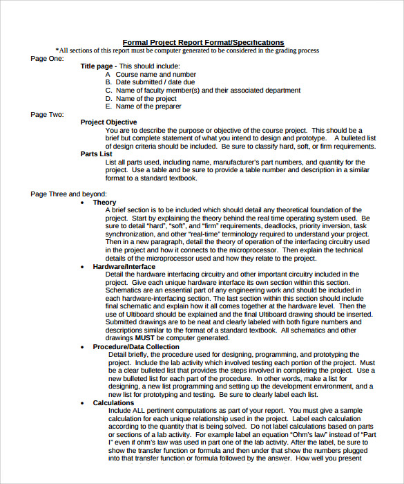 Formal Report Format Template Formal Report Format Formal Report