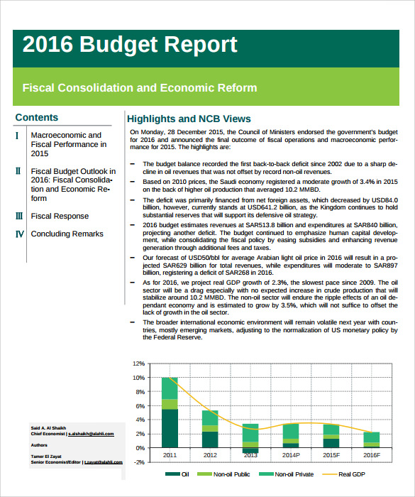 Sample Budget Report - 6+ Documents In Pdf, Word