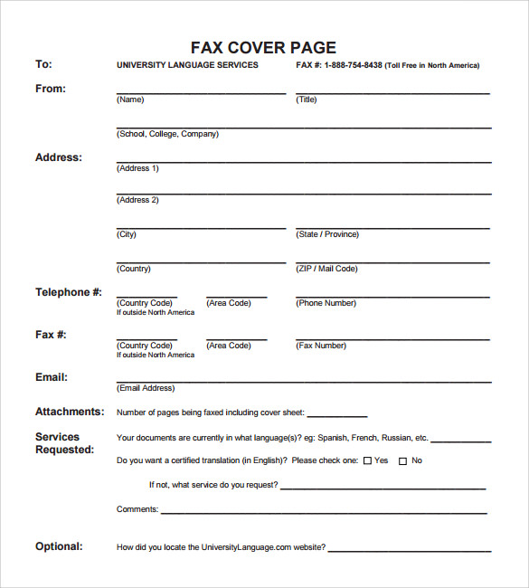 Fax Cover Page Template PDF  Sample Cover Page