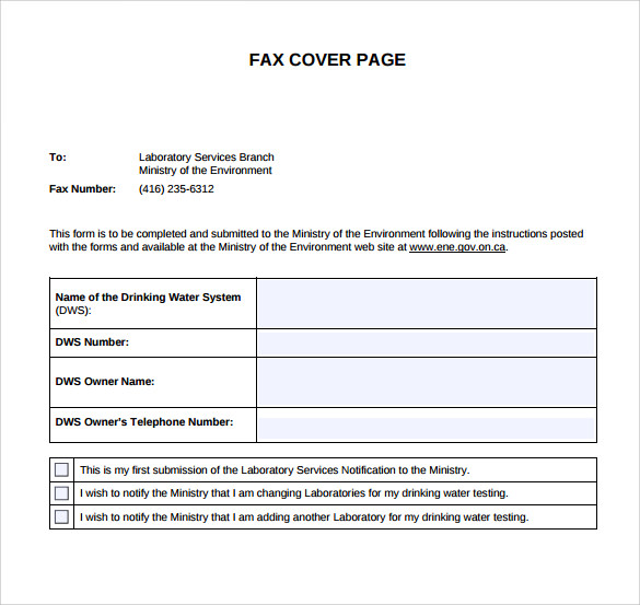 sample fax cover page template 11 documents in pdf