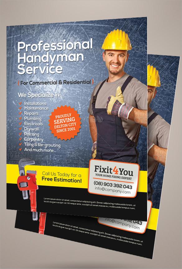 24 Beautiful Handyman Flyer Templates Sample Templates
