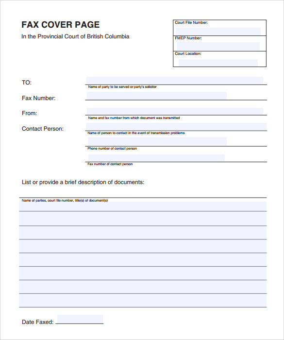 Sample Fax Cover Page Template - 11+ Documents in PDF