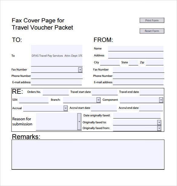 fax cover page template download