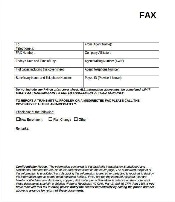 example of fax cover page template
