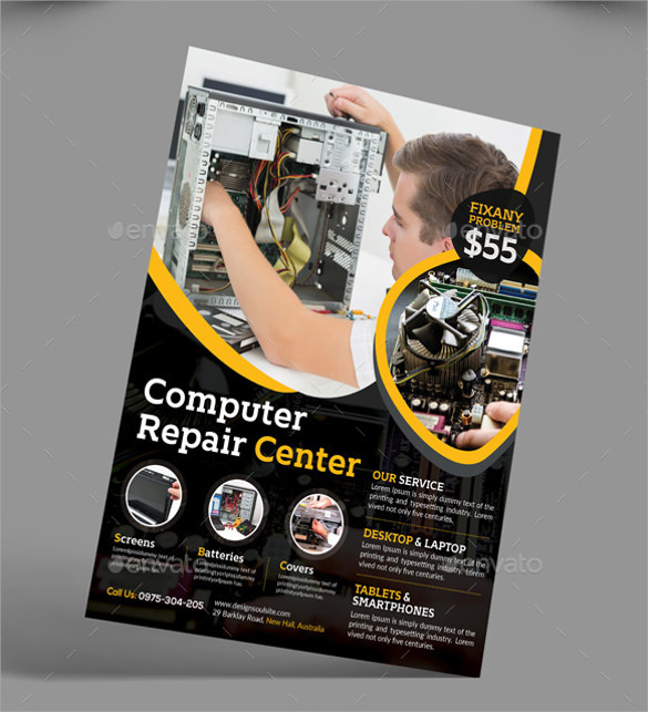 colourful computer repair flyer
