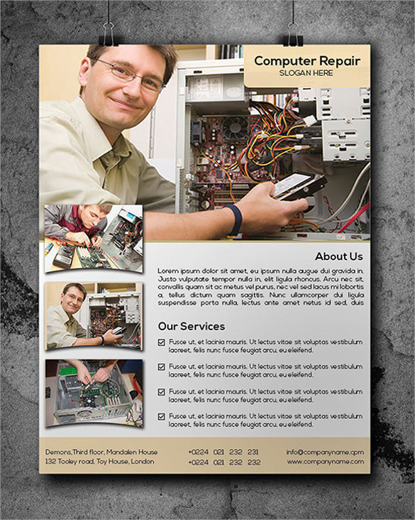 in design computer repair flyer