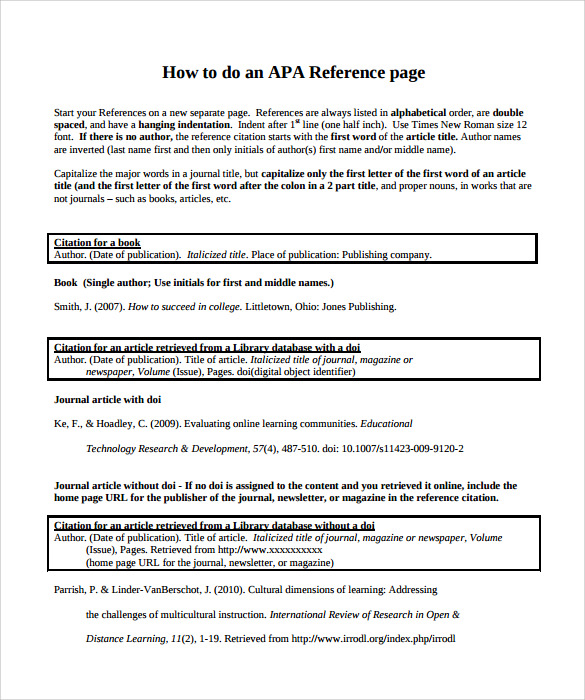 Sample Reference Page Template 9 Documents in PDF – Reference Page Template