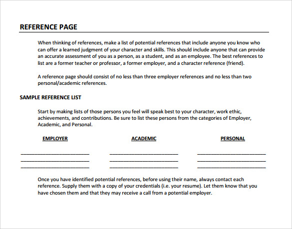 Sample Reference Page Template   Documents In Pdf