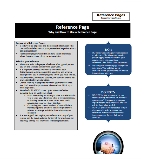 Sample Reference Page Template 9 Documents in PDF – Template for Reference Page