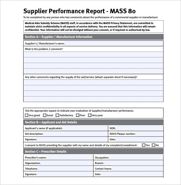 supplier performance report