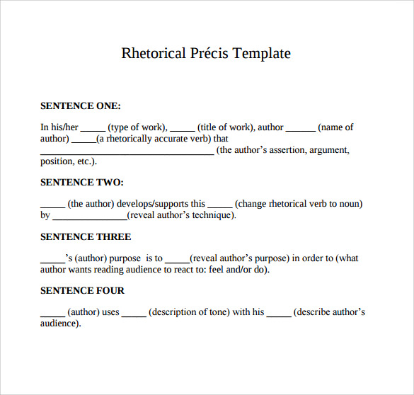 Rhetorical Precis Template  Madinbelgrade