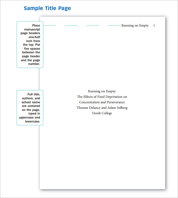 Sample Apa Cover Page Template   Free Documents In Pdf