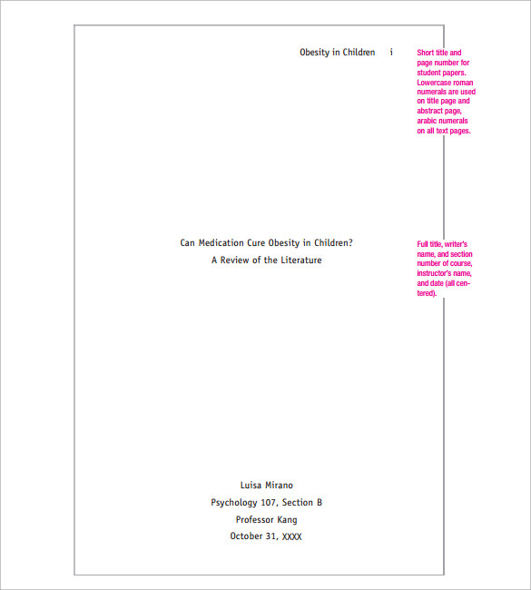 cover page for apa style