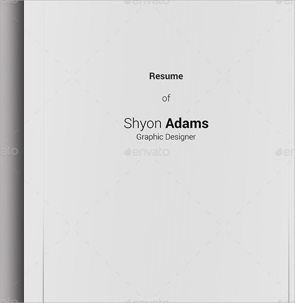resume cover page template