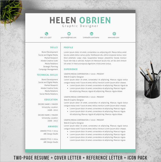 14 Resume Cover Pages  PSD  Vector