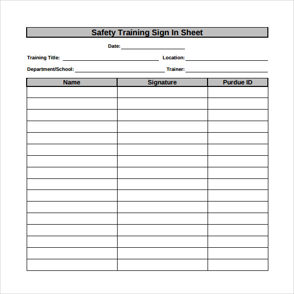 Sample Training Sign In Sheet - 11+ Examples & Format