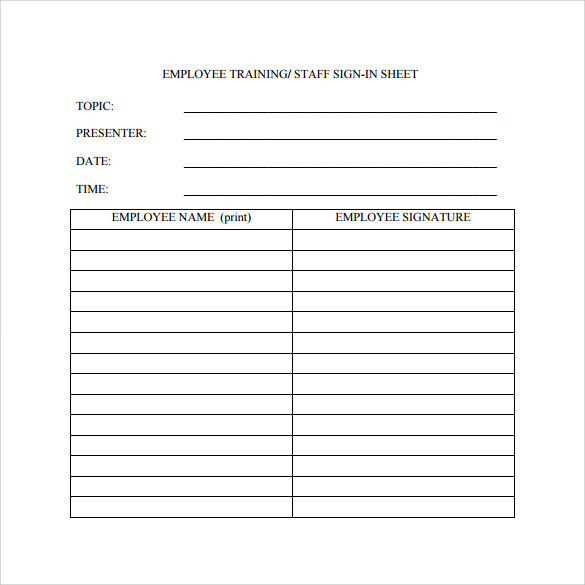employee training sign in sheet