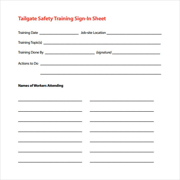 training sign in sheet pdf