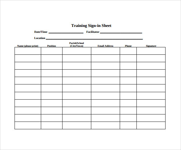 Sample Training Sign In Sheet   Examples  Format