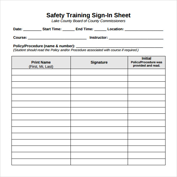 training safety sign in sheet