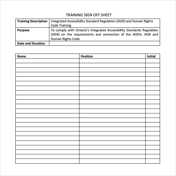 Sample Training Sign In Sheet Sign Off Template Msf Requirements