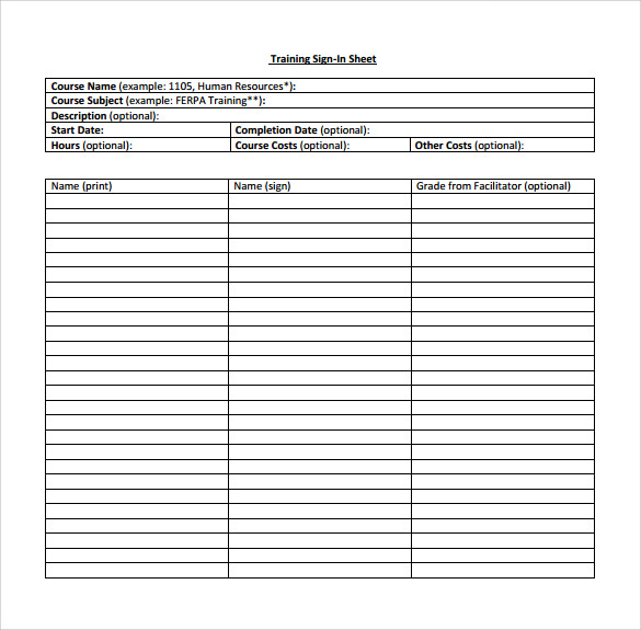 sample pdf training sign in sheet