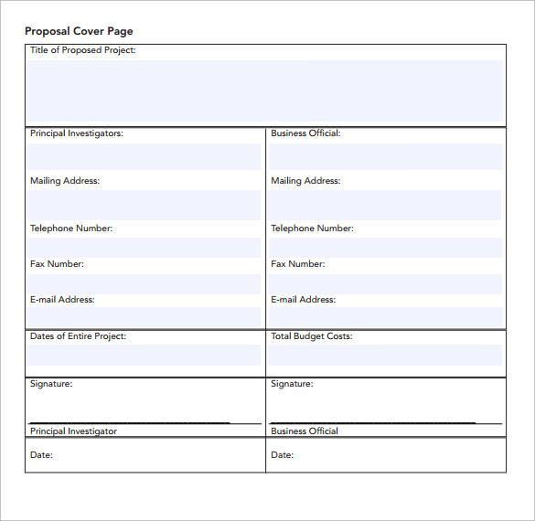 Sample Proposal Cover Page Template   Free Documents In   Word