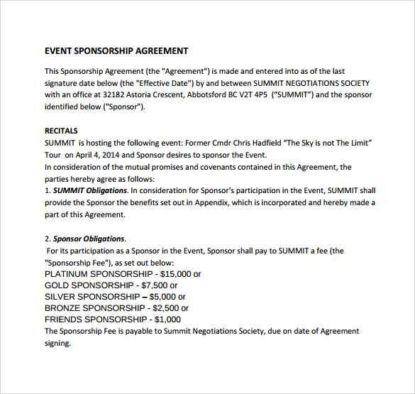Sample Sponsorship Agreement 12 Documents in PDF Word – Event Agreement Template