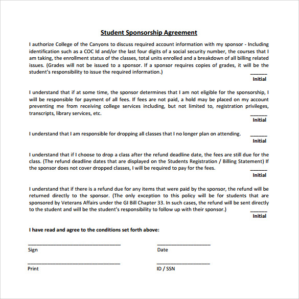 Sample Sponsorship Agreement   Documents In Pdf Word