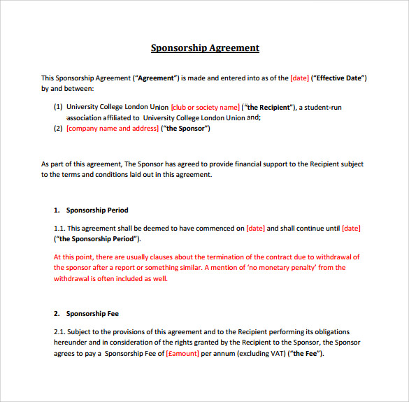 Sample Sponsorship Agreement 12 Documents in PDF Word – Sponsorship Agreement Template