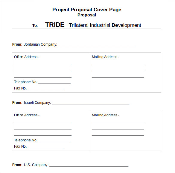 Sample Proposal Cover Page Template   Free Documents In Pdf  Word