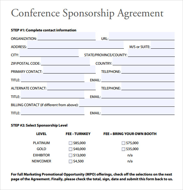 Sample Sponsorship Agreement 12 Documents in PDF Word – Sponsorship Agreement Form
