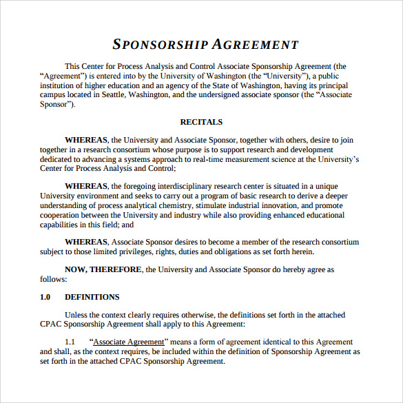 Printable Sponsorship Agreement  Printable Sponsor Forms