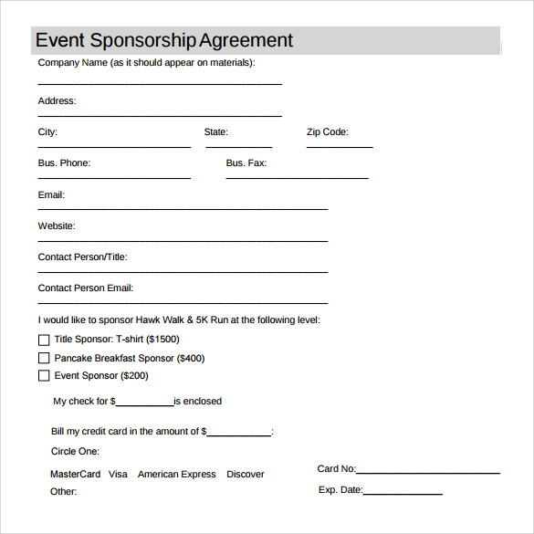 Free Download Sponsorship Agreement