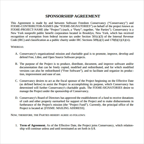 Downloadable Sponsorship Agreement  Heads Of Agreement Template Free
