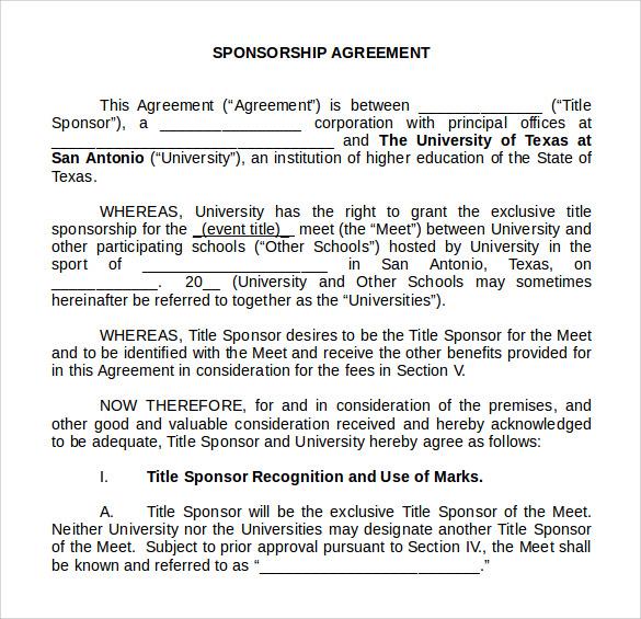 sponsorship agreement word