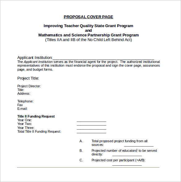 Sample Proposal Cover Page Template - 14+ Free Documents in