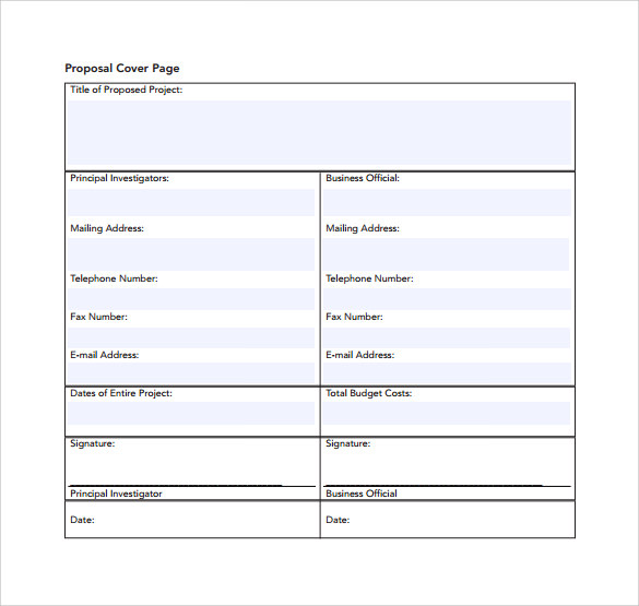 Sample Cover Page Template   Free Documents In Pdf