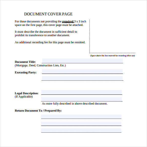 Sample Cover Page Template 14 Free Documents in PDF