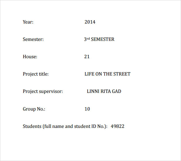 template for course cover page pdf