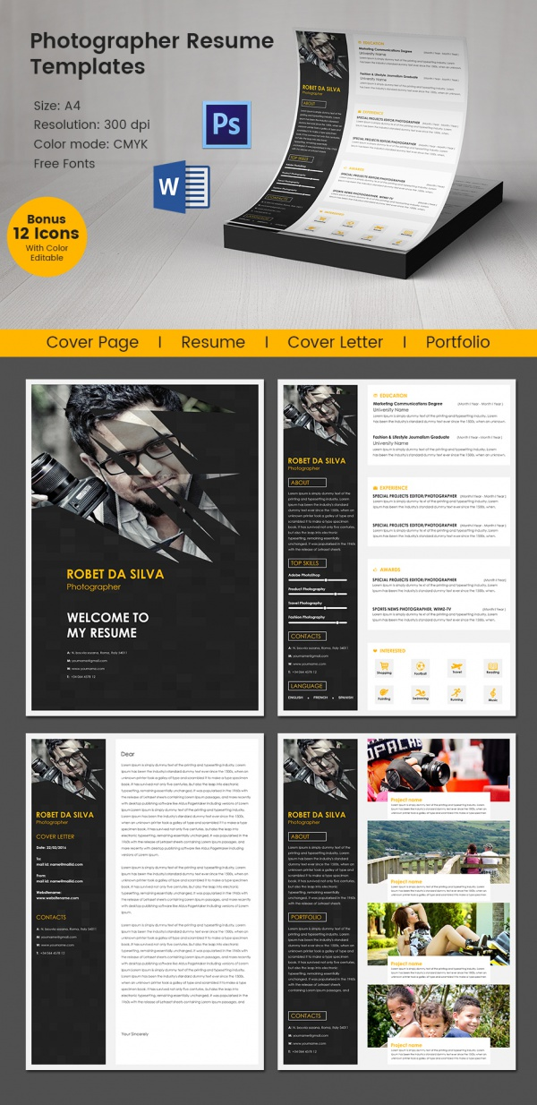 creative photographer resume template in word and psd format