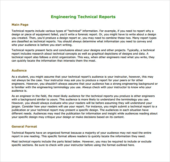 16 sample engineering reports pdf word pages sample for Technical service report template