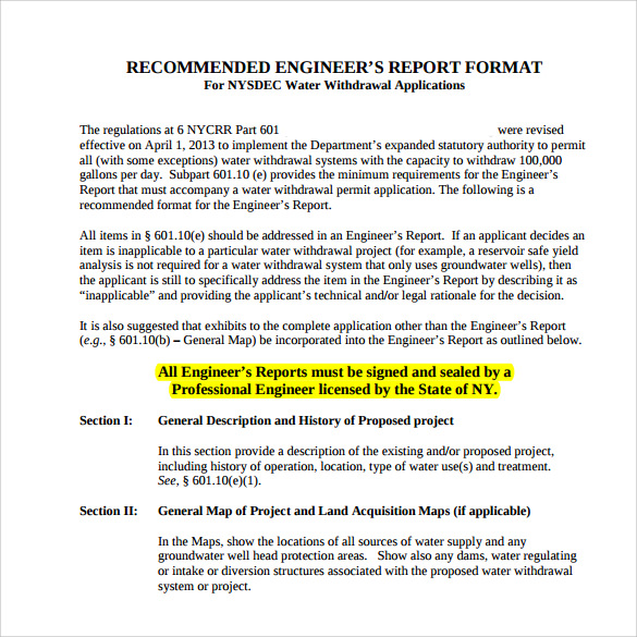Sample Engineering Report   Documents In Pdf